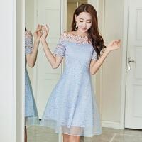 2018春蕾丝连衣裙韩版小礼服一字肩欧根纱女短裙 蓝色
