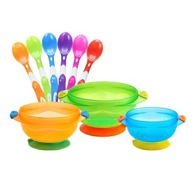 【当当自营】满趣健(munchkin)吸盘碗3个装+软头婴儿勺6个装套组 宝宝辅食碗防滑碗 新生儿勺硅胶勺儿童餐具吸盘碗强力吸盘,软头勺适合婴儿不伤口腔