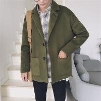 风衣男短款秋冬季毛呢大衣青年韩版宽松呢子外套帅气加棉加厚衣服