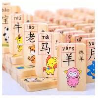 【天天特价】100粒双面儿童识字积木多米诺早教益智力