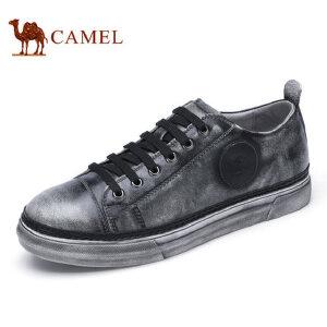 camel骆驼男鞋 新品 时尚流行擦色皮滑板鞋小脏鞋休闲鞋男