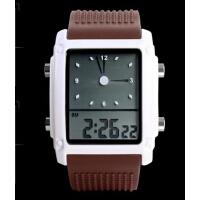 双显男士防水 时尚手表男女学生电子手表复古手表运动果冻表