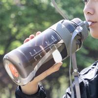 户外带吸管运动水壶杯子2000ml大容量塑料水杯男健身便携太空杯