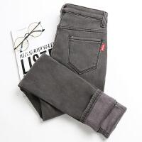 加绒加厚牛仔裤女烟灰色冬季高腰弹力加大码保暖显瘦小脚铅笔长裤