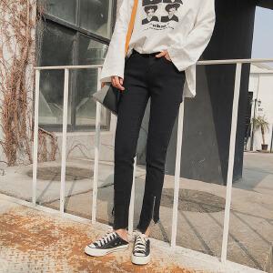 【用券立减100元】白领公社 牛仔裤 女士春季新款女式韩版高腰弹力学生牛仔脚带拉链九分裤子女装.