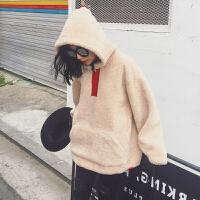 冬季韩版连帽加绒加厚卫衣女毛绒外套2017新款套头宽松毛茸茸外套