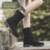 玛菲玛图2020秋冬新品女靴复古低跟短靴百搭后绑带休闲筒靴女Y7951-1