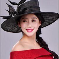 新品礼帽女士英伦复古婚纱礼帽桑蚕丝花朵大檐帽遮阳防晒帽子 支持礼品卡