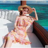 新款沙滩裙荷叶边裙时尚韩版旅游中长裙吊带性感漏肩海边度假连衣 可礼品卡支付