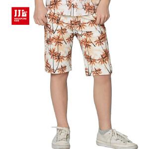 jjlkids季季乐童装男童短裤舒适透气休闲夏季五分布裤中大童薄款