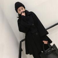 2018秋冬新款黑色毛呢外套女中长款韩版双排扣系带双面呢子大衣潮 黑色 X