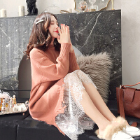 2020新款蕾丝拼接针织连衣裙时尚中长款冬装上衣孕妇秋冬装外穿毛衣
