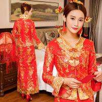 冬季夹棉新娘旗袍2017新款中式敬酒服结婚礼服高领长袖修身秀禾服 红色