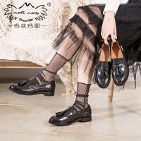玛菲玛图女鞋2020新款单鞋女平底开边珠牛皮夏款流苏黑色套脚深口乐福鞋女607-5