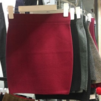针织包臀短裙高腰一步裙2017秋冬季新女性感显瘦短款打底半身裙子 XS 优质版