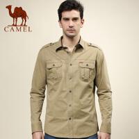 camel骆驼男装 时尚休闲衬衫 高领休闲衬衣 男士立领棉质长袖衬衫韩版潮流