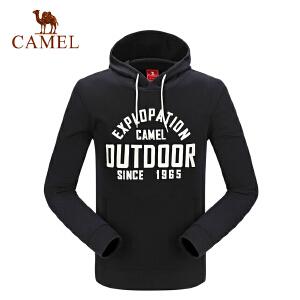 camel骆驼户外运动卫衣 男女秋冬跑步健身套头带帽卫衣