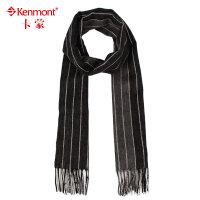kenmont男士羊毛围巾 冬季韩版针织围脖 条纹围巾围脖男士1951
