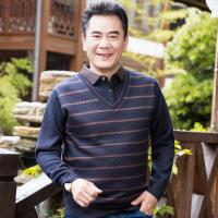 中年长袖t恤男秋冬装40-50岁爸爸装假两件中老年人加厚男装针织衫57620