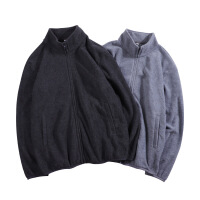 秋冬季新款抓绒纯色男士卫衣休闲拉链外套卫衣男立领加绒男式开衫