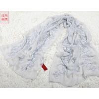 新款 丝巾女春秋冬季长款大红色结婚纱刺绣花围巾女