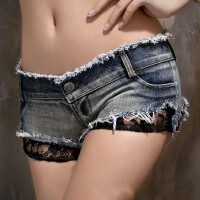 弹力简约紧身牛仔女韩版潮性感蕾丝热裤超低腰夜店超 牛仔色