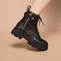 玛菲玛图真皮马丁靴女新款中跟骑士靴春秋单靴绑带高跟厚底短靴时尚百搭女靴3508-4