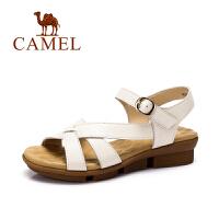 Camel/骆驼女鞋 舒适休闲 牛皮挂式针扣低跟凉鞋 夏...