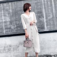 2018秋女士连衣裙2018秋装新款长袖气质韩版中长款单排扣系带修身毛衣针织连衣裙 均码
