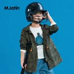 【3件2.5折后到手价:134.8元】马拉丁童装男童风衣春装2018新款迷彩连帽抽绳中长款儿童外套