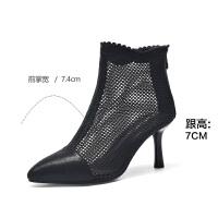 2019珂卡芙新款【网布透气】个性时尚性感女鞋尖头粗跟女单鞋