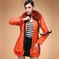 恒源祥冬装新款正品貉子毛领女士中长款修身保暖显瘦羽绒服女外套 HYX1260