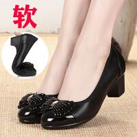 2019秋季妈妈鞋软底女士皮鞋中跟粗跟中老年舒适中年单鞋 黑色