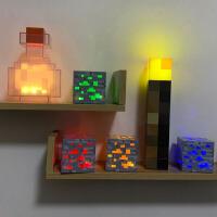 我的世界游戏周边Minecraft火炬火把可亮LED灯创意红蓝矿灯 夜灯