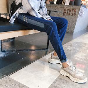 2018秋冬新款港风ins织带牛仔裤男小脚青少年韩版修身拼接长裤男