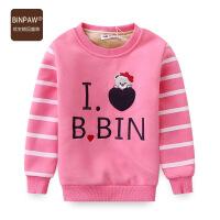 【400-200】binpaw冬装女童卫衣卡通字母绣花条纹圆领套头衫加绒保暖上衣