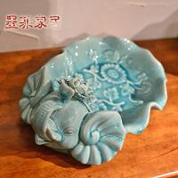 墨菲 欧式现代创意冰裂手捏陶瓷果盘家居软装客厅卧室厨房零食盘