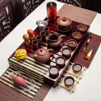 全紫紫砂茶博士茶�靥籽b功夫茶具套�b家用整套��s��木茶�P茶��