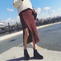 半裙女春2018新款时尚半身裙开叉一步长裙针织包裙中长款半截裙秋 焦糖色 S B173746