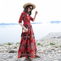 民族风女装海边度假连衣裙泰国风情裙子波西米亚长裙海滩裙沙滩裙 红色