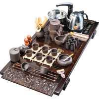 整套功夫茶具套装家用电热炉简约紫砂陶瓷茶杯壶茶台茶道实木茶盘