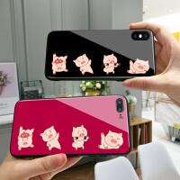 健身小猪苹果7plus手机壳6s本命年x钢化玻璃iphone8可爱卡通xr红色6plus个性创意8p情侣保护套7可爱女