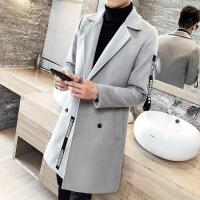 秋季风衣男韩版中长款毛呢大衣男士呢子外套修身薄款潮双排扣风衣ZJ33