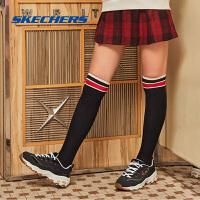【领券立减120】Skechers斯凯奇女鞋时尚丝绒绣花熊猫鞋 复古松糕厚底老爹鞋13084