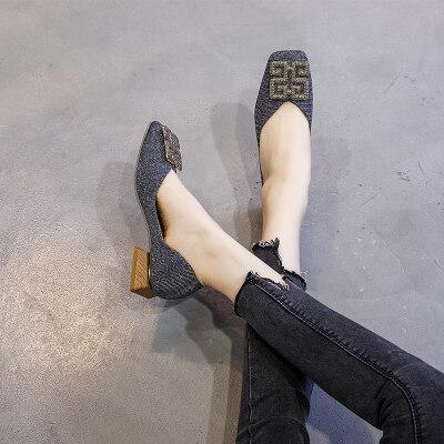大码女鞋41-43平底秋百搭懒人一脚蹬单鞋豆豆鞋脚宽胖妹妹42