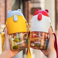 塑料杯 童趣熊吸管太空杯便�y大容量�W生�和�水杯高�值女生�\�铀芰媳�(送吸管刷)