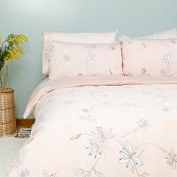全棉时代全棉贡缎床上用品四件套纯棉北欧单双人床单被套枕套夏季花枝百合