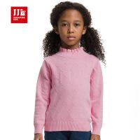 jjlkids季季乐女童毛衣保暖针织童装冬装儿童线衣荷叶领毛线衣童装GQM52005