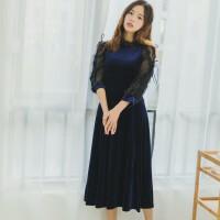 连衣裙冬春秋季2017新款女中长款丝绒女露肩礼服裙