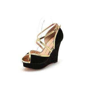 【3折到手价149.7元】D:Fuse/迪芙斯羊皮高跟防水台浅口凉鞋女鞋410056986